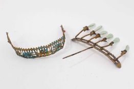 19th c. Chinese gilt metal kingfisher feather tiara and Chinese gilt metal and jade hair ornament