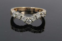 9ct gold diamond seven stone wishbone ring