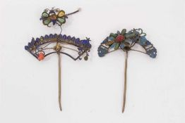 Two old Chinese gilt metal hair pins with kingfisher decoration