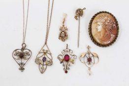 Victorian seed pearl pendant, Edwardian open work pendant, three other similar pendants, stick pin a