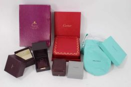 Group empty jewellery boxes to include Cartier, Tiffany & Co, Asprey and Lalique