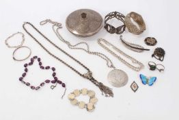 Group silver and white metal jewellery