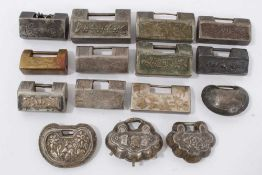 Collection of 15 Chinese silver, white metal and brass padlock style pendants