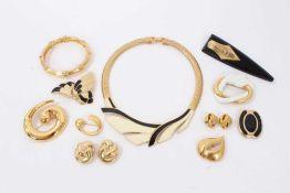 Group vintage gilt metal costume jewellery