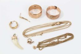 Group 9ct gold and yellow metal jewellery