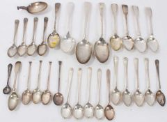 Quantity various silver teaspoons and other silver spoons