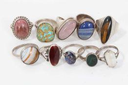 Ten silver and white metal semi precious gem stone rings