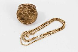 Elizabeth II gold sovereign,1967 in 9ct gold ring mount together with a 9ct gold chain