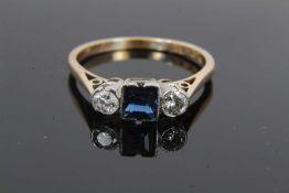 18ct gold diamond and sapphire three stone ring