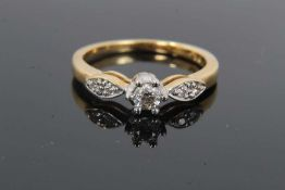 18ct gold diamond single stone ring with diamond set shoulders