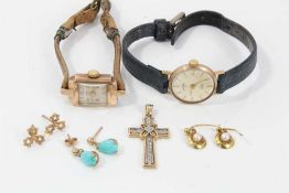 Two 9ct gold cased wristwatches, 9ct gold diamond set cross pendant and three pairs 9ct gold earring