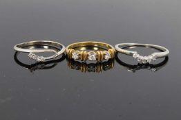 Three gold diamond set rings