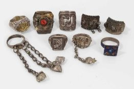 Nine Eastern silver and white metal rings