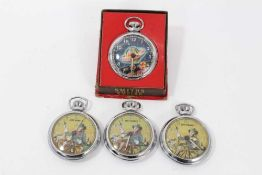 1950s Ingersoll Dan Dare in space pocket watch and three 1950s Ingersoll Jeff Arnold pocket watches