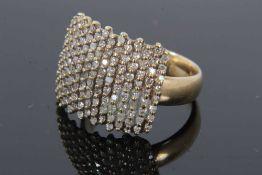 9ct gold diamond set plaque ring