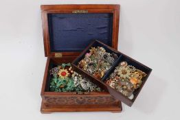 Carved wood jewellery box containing vintage costume jewellery