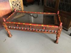 20th century Pakistani coffee/display table with carved, turned and painted decoration H56.5cm W123c