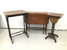 Regency coromandel inlaid work table, together with a 19th century single drawer side table, spoon b