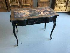 Edwardian mahogany side table with shaped top single drawer below on carved cabriole legs together w
