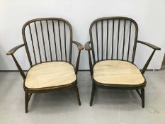 Pair of Ercol elbow chairs together with a small low back side chair