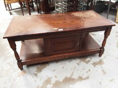 Old Charm style oak coffee table with cupboard below 106cm wide, 50cm deep, 47cm high