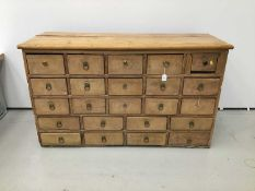 19th century pine apothecary's chest of 23 drawers