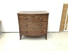 Small 19th century mahogany bow front chest of two short and two long drawers on splayed bracket fee