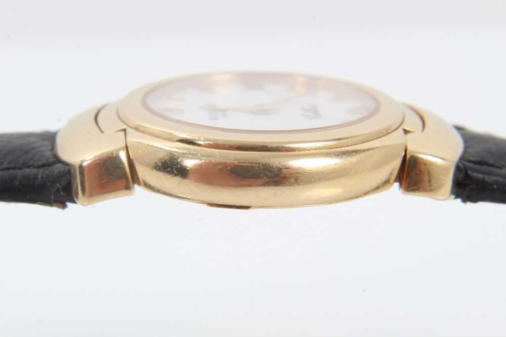 Ladies Rolex Cellini 18ct gold wristwatch with circular white enamel dial with applied gold Roman nu - Image 7 of 7