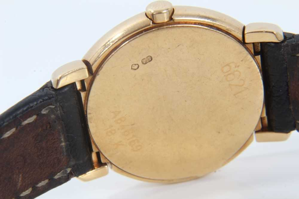 Ladies Rolex Cellini 18ct gold wristwatch with circular white enamel dial with applied gold Roman nu - Image 2 of 7