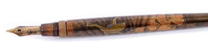 Rare and fine Dunhill Namiki maki-e lacquer travelling pen decorated by Shobi Makizawa,