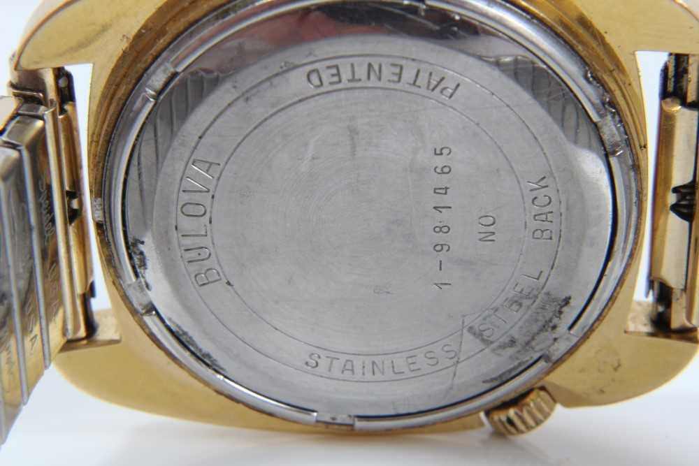 1970s gentlemen's Bulova Accutron wristwatch with circular matte black dial, day and date aperture, - Image 7 of 7