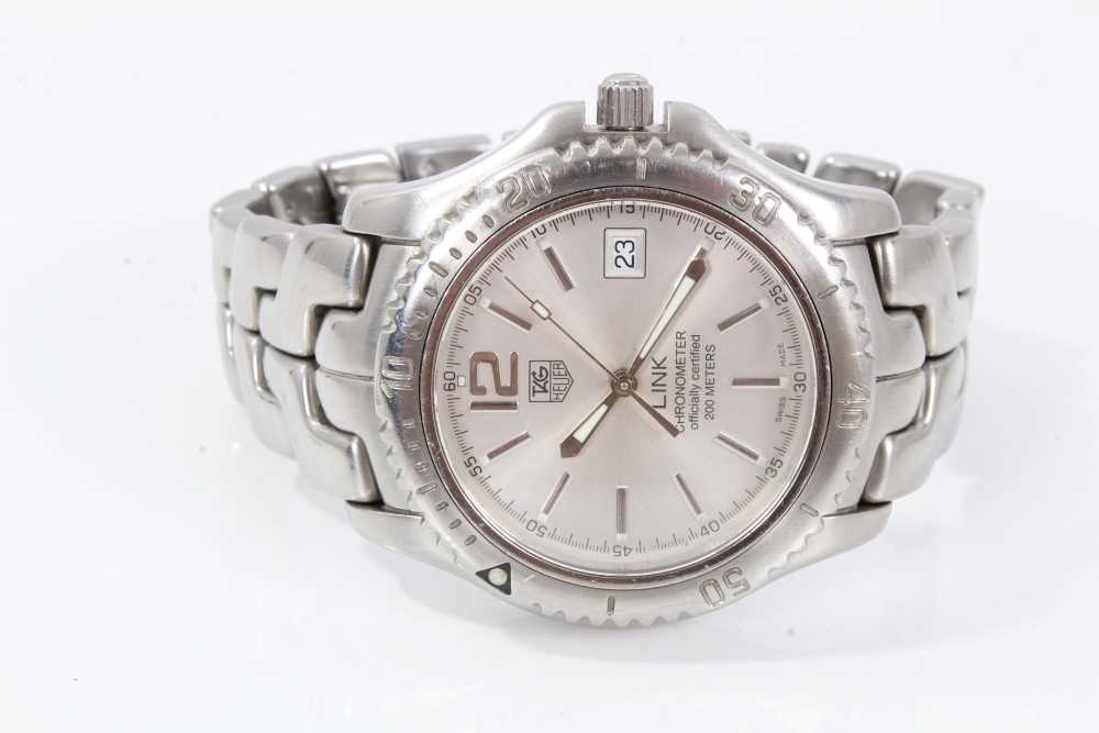 Gentlemen's Tag Heuer Link Chronometer stainless steel wristwatch, model WT5113, the circular brushe