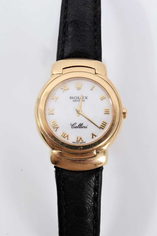 Ladies Rolex Cellini 18ct gold wristwatch with circular white enamel dial with applied gold Roman nu - Image 3 of 7