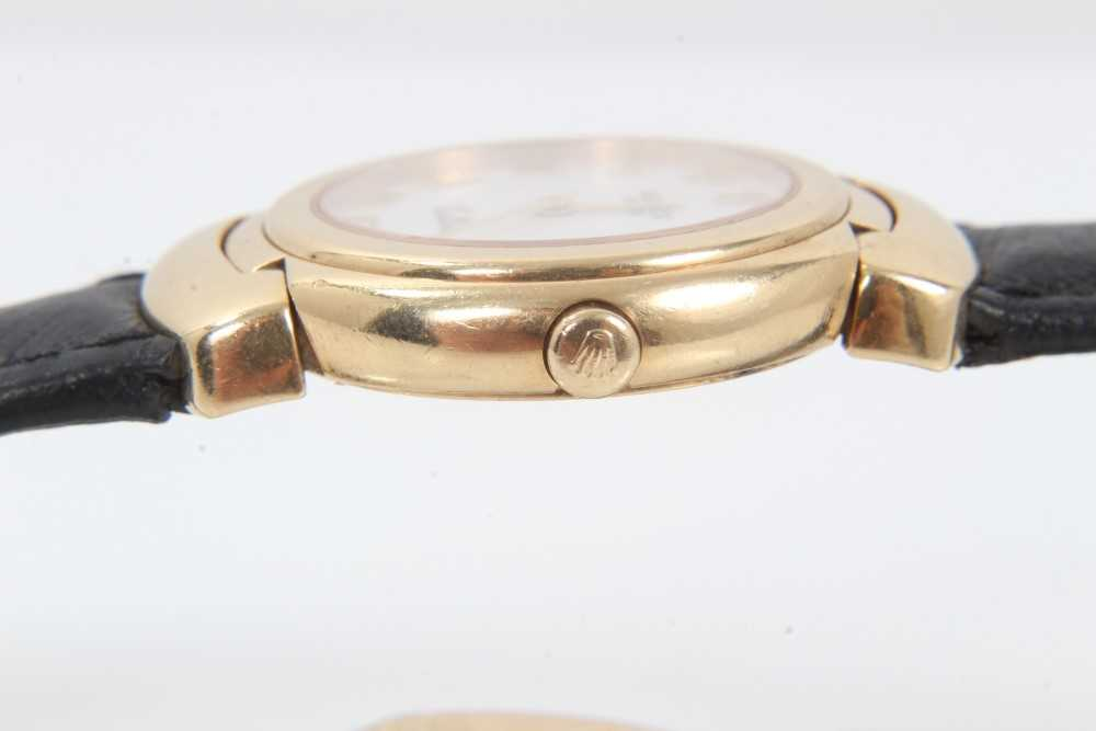 Ladies Rolex Cellini 18ct gold wristwatch with circular white enamel dial with applied gold Roman nu - Image 6 of 7