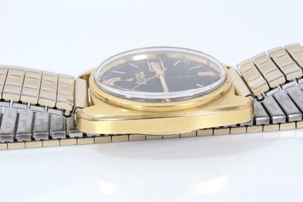 1970s gentlemen's Bulova Accutron wristwatch with circular matte black dial, day and date aperture, - Image 5 of 7