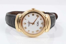 Ladies Rolex Cellini 18ct gold wristwatch with circular white enamel dial with applied gold Roman nu