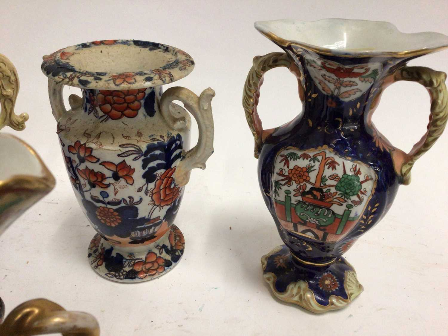 19th century Masons and Masons-style pottery, including four vases and a scent bottle, the largest v - Image 3 of 5
