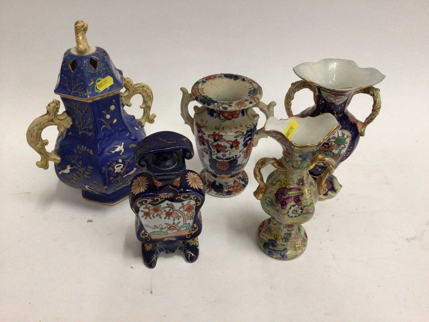 19th century Masons and Masons-style pottery, including four vases and a scent bottle, the largest v