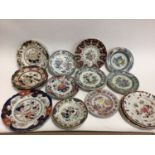 Good collection of 19th century Masons Ironstone plates and dishes, various patterns and marks (21