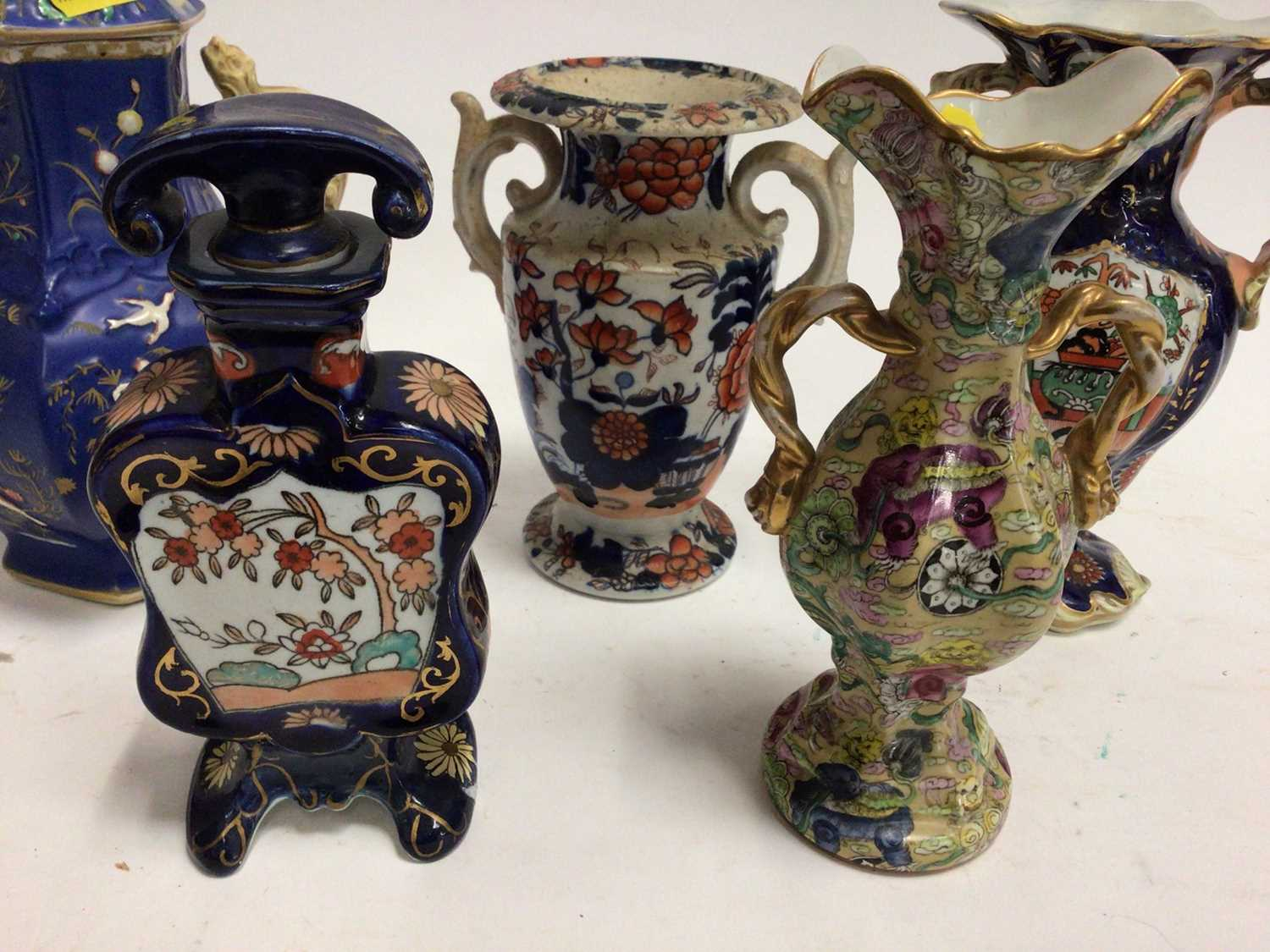 19th century Masons and Masons-style pottery, including four vases and a scent bottle, the largest v - Image 2 of 5