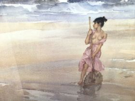 William Russell Flint (1880-1969) limited edition colour print - semi-clad fisher girl on the shore,