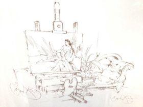 Gordon King (b.1939) signed print - the artists studio, 39cm x 50cm, in glazed gilt frame