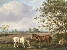 English School, early 20th century, oil on board - plough horses at rest, in gilt frame,