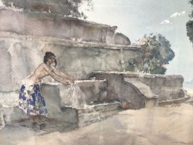 William Russell Flint (1880-1969) signed colour print - semi-clad female before a fountain, with bli
