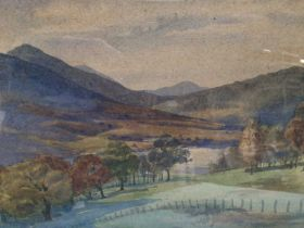 Joanna Hassall, early 20th century, English School, watercolour - an extensive rural valley, signed,