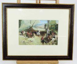 *Antoine de la Boulaye (b. 1951) watercolour and body colour, hunting scene, signed, 16 x 24cm, glaz