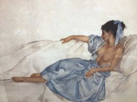 William Russell Flint (1880-1969) limited edition colour print - reclining semi-clad female, 656/750