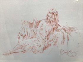 Gordon King (b.1939) print - a reclining female nude, signed, 39cm x 50cm, in glazed gilt frame
