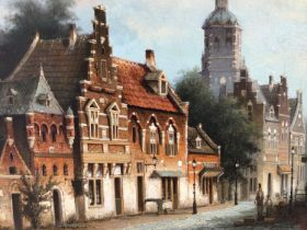Gerard H. Nyland, contemporary, oil on board - Dutch street scene, signed, 29cm x 39cm, framed