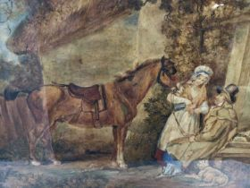 Manner of George Morland, watercolour - 'A well-earned drink', in glazed oak frame